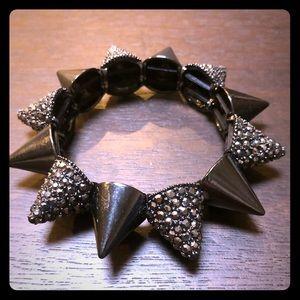Black and gem spiked stretchy bracelet